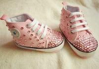 MIYOCAR handmade bling bling pink rhinestone crystal Baby Girl sports shoes Bling Diamond first Walker infant shoes princess
