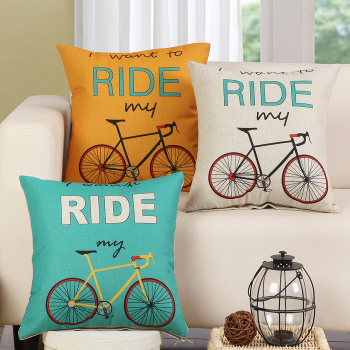 1Pcs Bicycle Bike Pattern Cotton Linen Throw Pillow Cushion Cover Home Decoration Sofa Bed Decor Decorative Pillowcase 40132