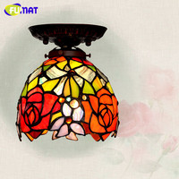 FUMAT European Style Ceiling Lamp BAR Corridor Stained Glass Light Fixture Restaurant Kitchen Dining Room Mosaic