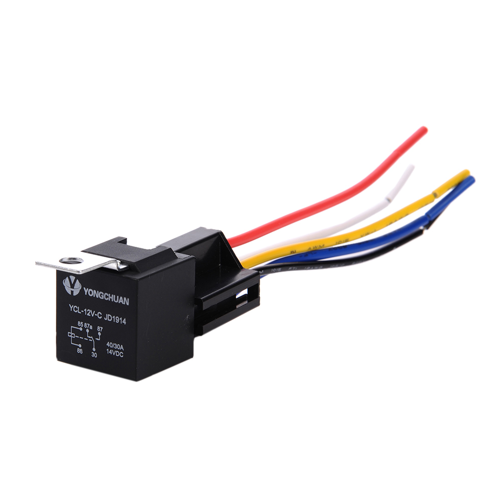 1 Piece 12V <font><b>30</b></font>/40 A 5 <font><b>Pin</b></font> 5P Automotive Harness New Arrival High-quality Car Auto Relay <font><b>Socket</b></font> 5 Wire image