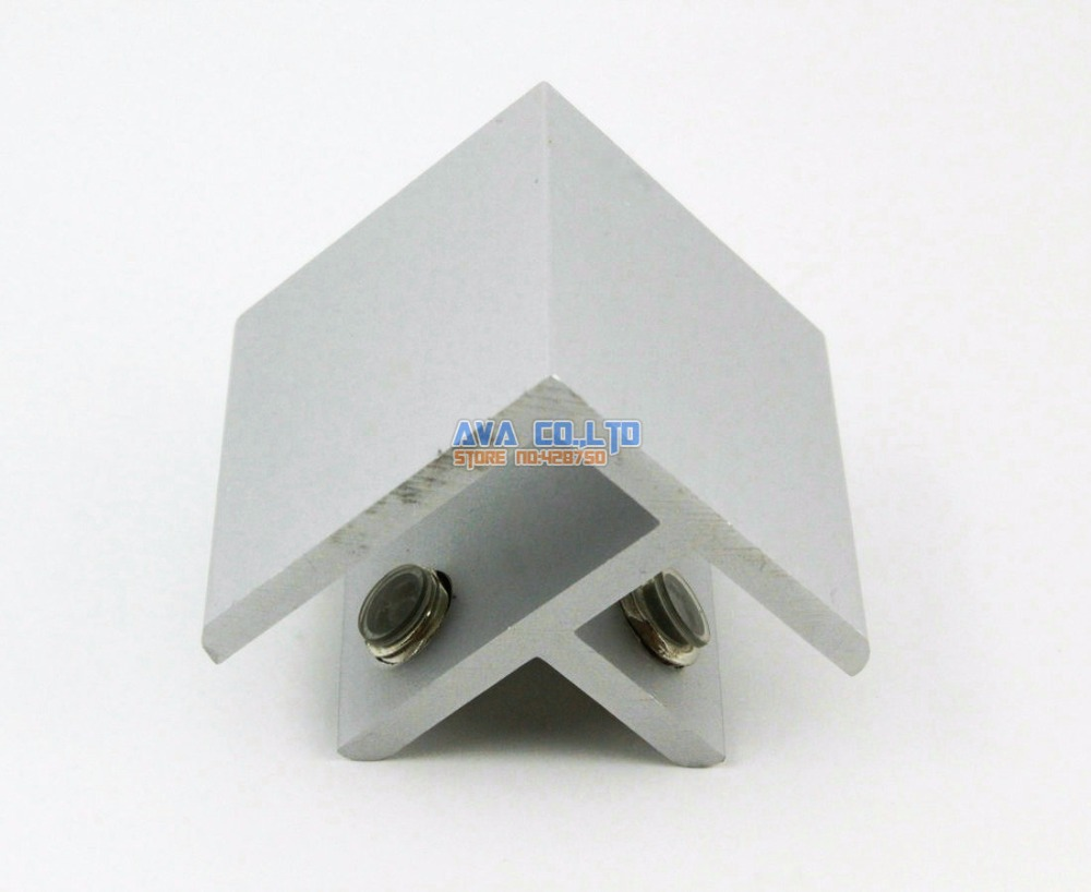 Aluminum 2 Pieces 90 Degree Glass Shelf Clamp Clip Bracket Shelf Support
