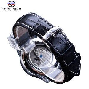 Image 4 - Forsining relojes mecánicos automáticos clásicos para hombre, Tourbillon, de cuero genuino, de fase lunar azul, Masculino