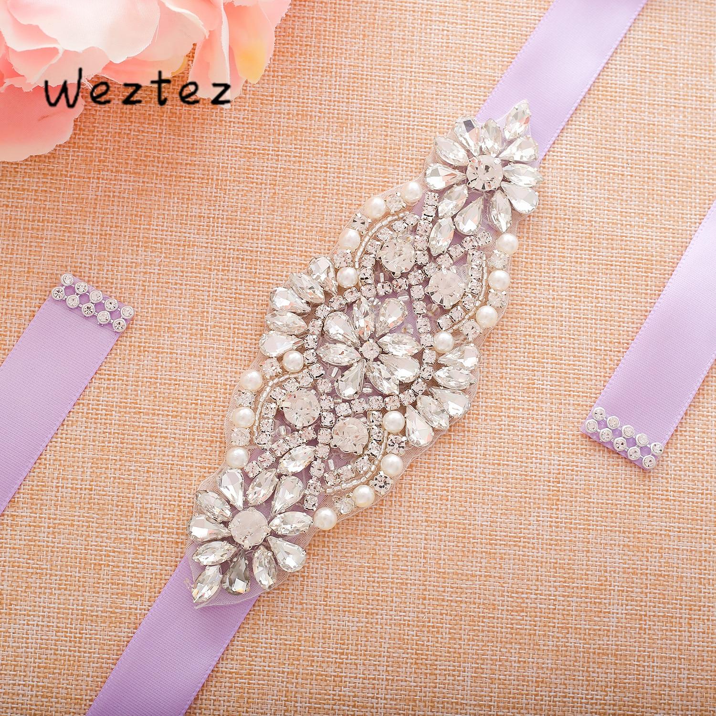 Silver Rhinestone Flower Wedding Sash Bridal Belt Crystal Bridal Sash  Belt For Bridal Dress Gown SD105S