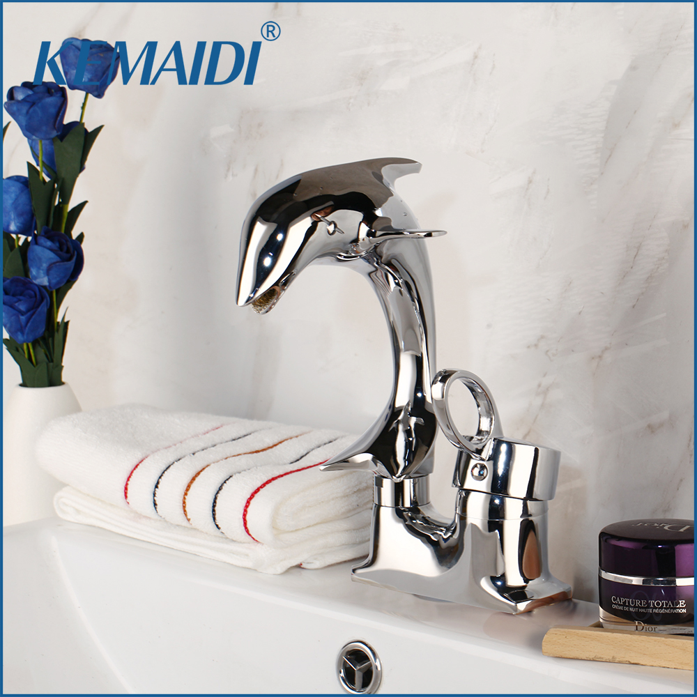 KEMAIDI Dolphin Style Single Handle Basin Faucet Chrome Finish Bathroom  Dual Hole Mixers with Hot and Cold Water Tap