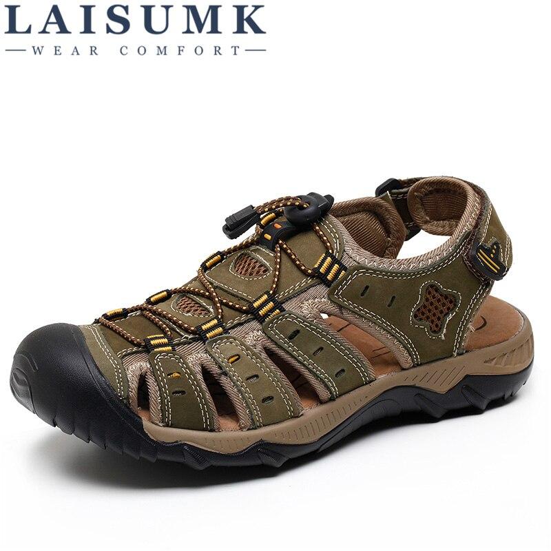 2018 LAISUMK New Fashion Summer Beach Breathable Men Sandals Genuine Leather Mens Sandal Man Causal Shoes Plus Size 39-48