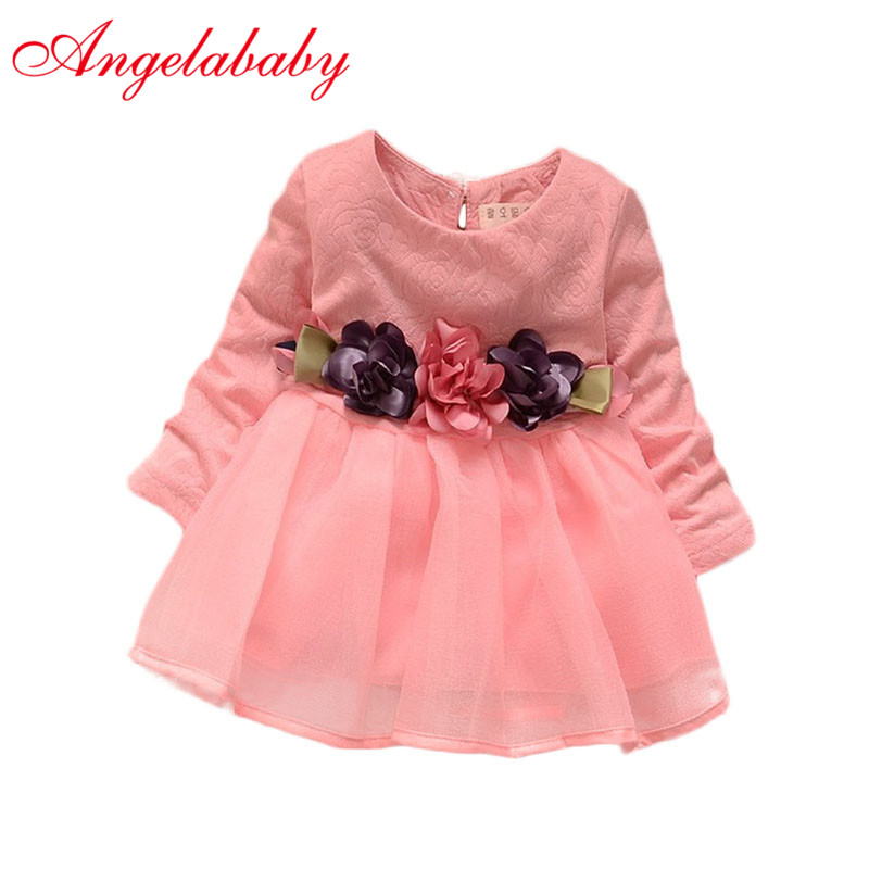 2019 Winter Newborn Fancy Infant Baby Dresses Girl Frocks Designs Party Wedding With Long Sleeves Jacadi 1 Year Birthday Dresses