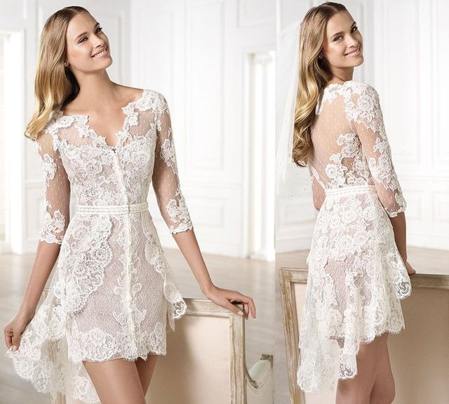 4d68f6eb9de High Low Wedding Dresses Lace Junior Party Gowns Half Sleeves V Neck Brides  Girls Dresses Sexy Mini White See Through Back