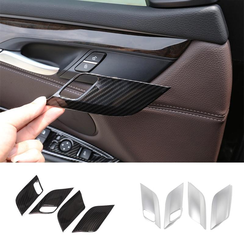 Interior Door Bowl Cover Trim Gloss Black ABS Chrome For BMW X5 X6 F15 F16 2014 2015 2016 2017 2018 Auto Accessories Black