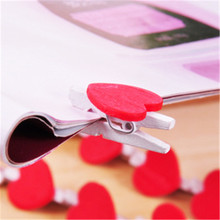 DL Korean heart love Korean peach wooden clip clip DIY wooden pad Wholesale price office & school stationery Exquisite(China)