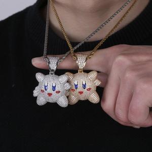 Image 4 - Ожерелье с подвеской 3D Kirby для мужчин и женщин, украшение в стиле хип хоп с теннисной цепью, цвет под золото, драгоценности в подарок
