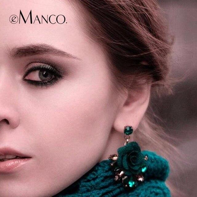 eManco Romantic Drop Dangle Hanging Earrings for Women Trendy Plants Flower Green Crystal Earring Fashion Brand Jewelry
