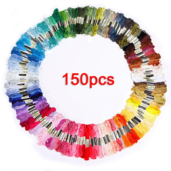150 madejas de multicolor bordado hilo de punto de cruz