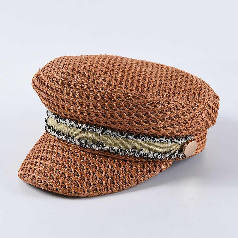 العلامة التجارية الفاخرة تصميم قبعات عسكرية محبوك يدويا النساء القش موزع الصحف قبعات مع حزام شعبية عالية الجودة تنفس قناع قبعة