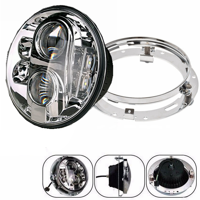1 PC 7inch LED Headlight Round Ring Chrome Mounting Bracket For Jeep Harley Motorcycle