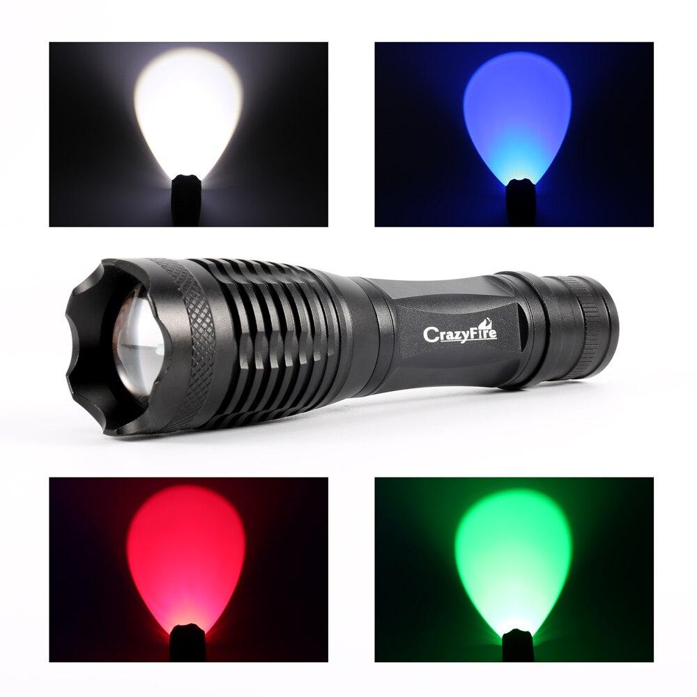 CrazyFire E5 rojo verde blanco CREE luz Q5 Zoomable táctico LED linterna 5 modo linterna antorcha para la caza pesca al aire libre
