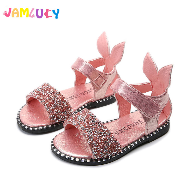 Gilrs Sandals Shoes Brand Kids Summer Heels Rhinestone Princess Pink Shoes Fashion Leather Flats Children Summer Shoes Sandals