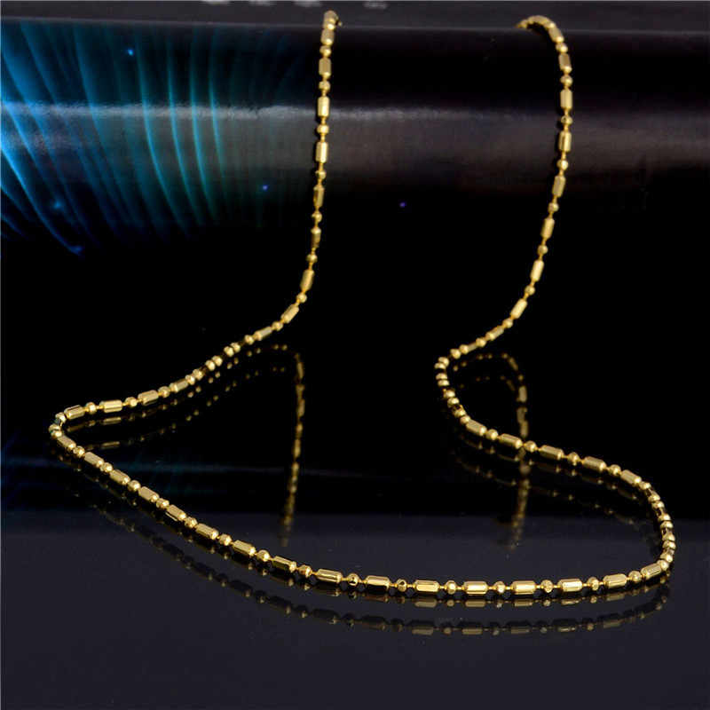 H:HYDE Wholesale fashion jewelry yellow Gold Color charming 1.5 mm width beed chain necklace For Women Men size 20 inch