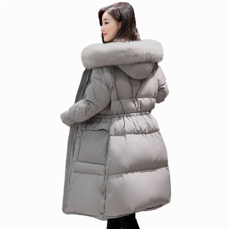 Jackets women's winter 2017 thick fashion loose Large size white duck   down     Coat   female Long hooded fur collar outerwear QH0980