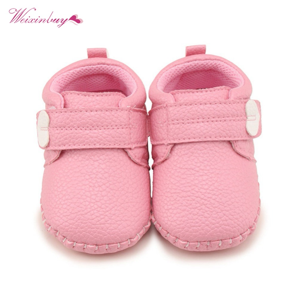 WEIXINBUY Baby Shoes Fashion New Baby Boy Girl Shoes Casual Solid Shallow Hook&Loop First Walkers