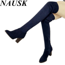 women suede round toe high heels over the knee boots ladies autumn winter boots thigh high boots