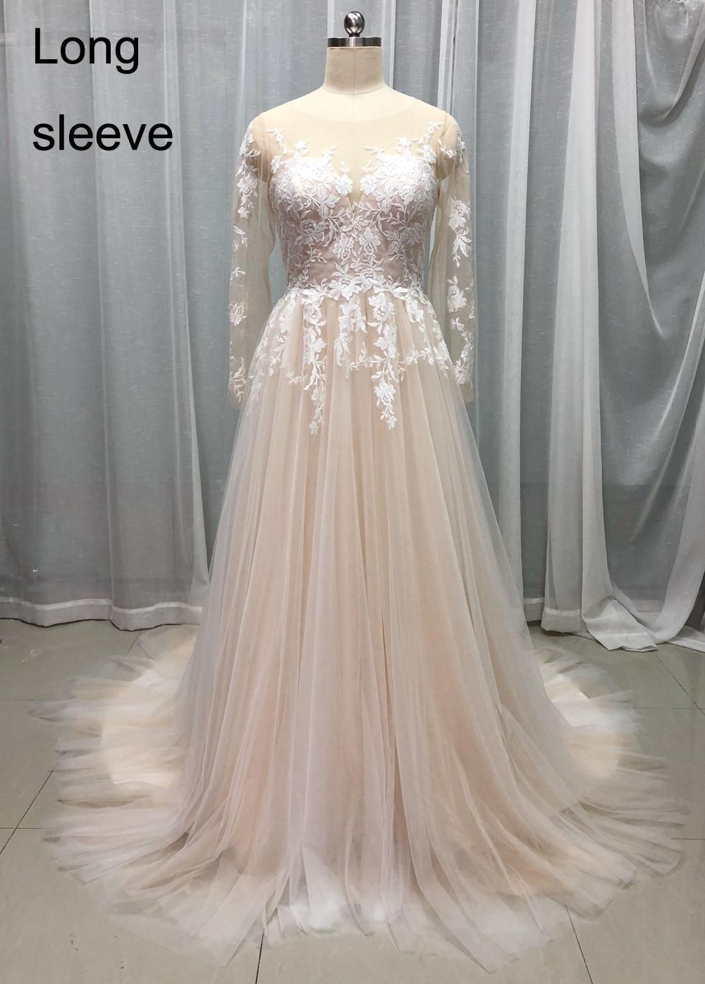 Elegants šampanieša kāzu kleita 2018 garām piedurknēm bez - Kāzu kleitas - Foto 6
