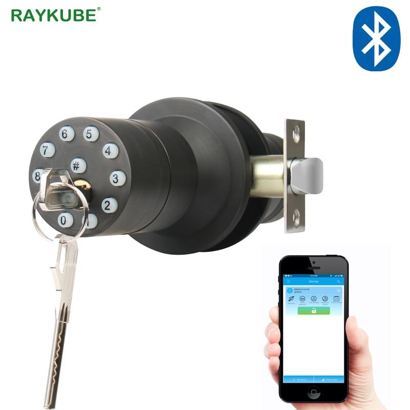 RAYKUBE Knob Digital Code Electronic Door Lock Bluetooth APP Password Keyless Opeing Enter Smart Live Waterproof IP65|Electric Lock| |  - title=