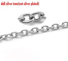 "DoreenBeads Retail Silver Tone Stainless Steel Link-Opened Cable Chains Findings 4x3mm(1/8""x1/8""),sold per pack of 10M(China)"