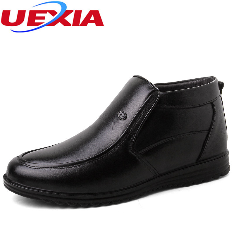 UEXIA New Leather Fashion Men Shoes Handmade Winter High Quality Men Flats Casual Shoes Warm Fur Shoes Footwear Bottes Botas Bot boys casual shoes soft footwear classic men summer flats fashion high quality shoes aa20302