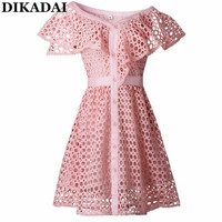 Sexy One Shoulder Lace Mini Dress For Women Pink Color Ruffles Sleeve High Waist A Line
