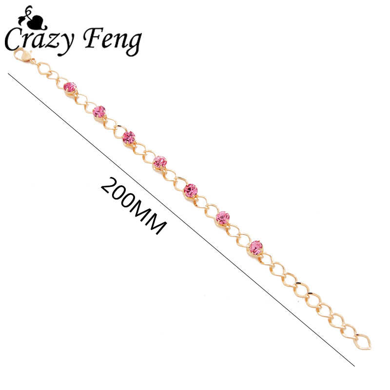 Fashion Gold-color Pink Crystal Beads Chain Bracelet Cubic Zirconia Rhinestone Bracelets For Women Jewelry Bijoux Valentine Gift