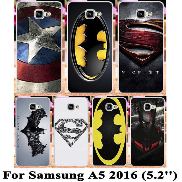 Soft TPU Plastic Superman Batman Captain America Case For Samsung Galaxy A5 2016 A5+ A510 A5100 SM-A510F Cases  Back Cover Shell