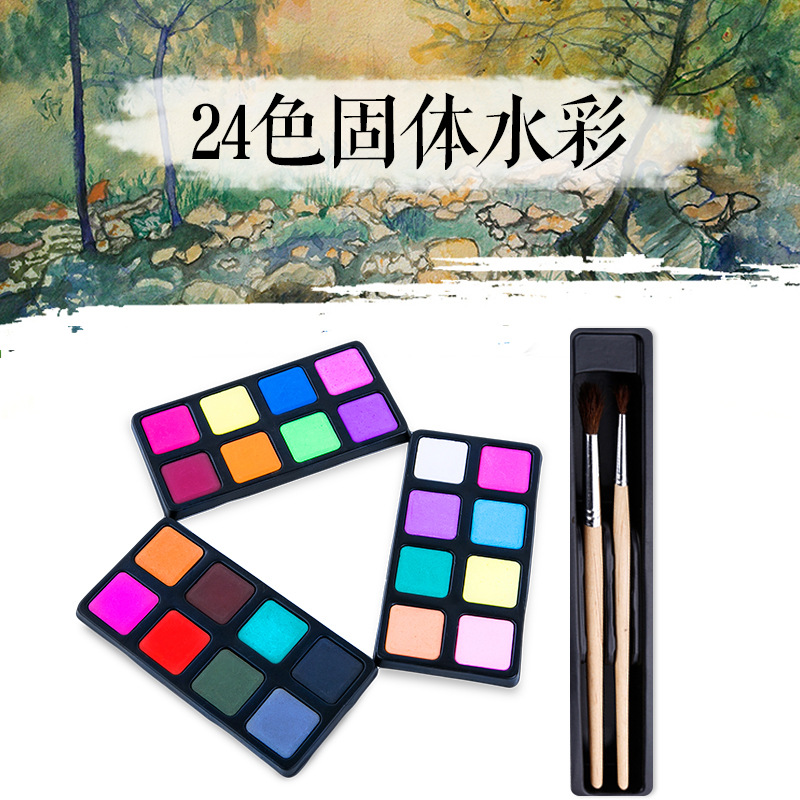 Image 2 - 64pcs/set kids gift educational drawing set crayon brush chalk sketch pencil Water color powder eraser painting school supply-in Art Sets from Office & School Supplies
