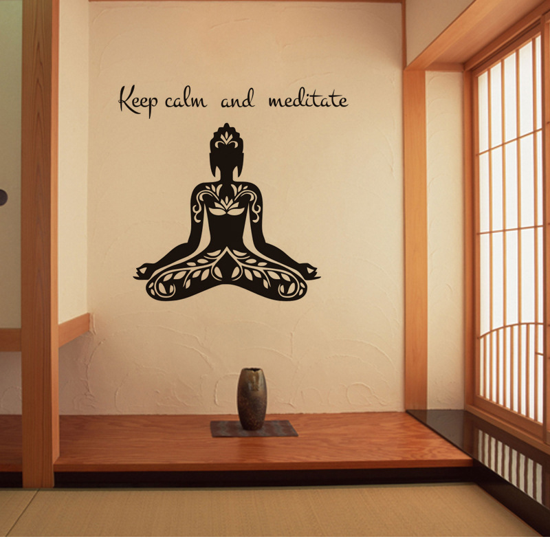 Black Removable Wallpaper Creative Yoga Buddha Vinyl Wall Decal Quote Keep Calm And