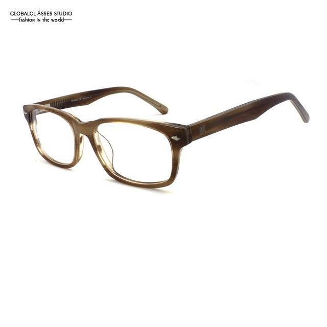 Al por mayor Grande Cuadrado Lente Marco De Acetato de Diseñador de la Marca Mujeres de Los Hombres de Color Marrón Claro Flex Bisagra Gafas de Montura de Gafas Populares WW946 C8