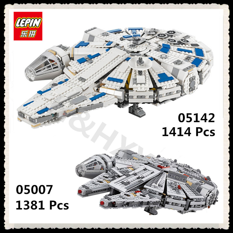 IN STOCK LEPIN 05007 1381Pcs 05142 1414Pcs Star Force Awakens Millennium Wars Falcon Model Building Kits Blocks Toys 75105 75212 lepin 05007 stars series war 1381pcs force awakens millennium toys falcon diy set model building kits blocks bricks children toy