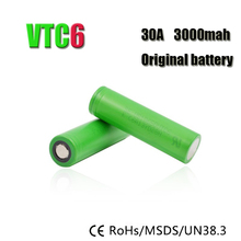 Free shipping 2PCS/lot US18650 VTC6 3000MAH 30A lithium li ion rechargeable battery for Sony 18650 VTC6 3.7V high drain battery