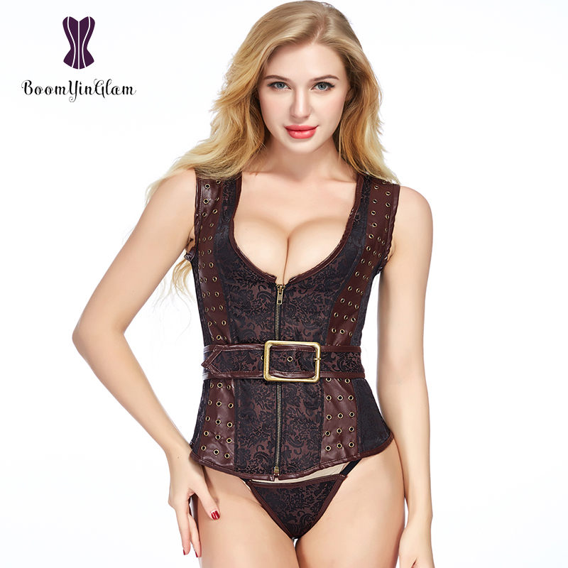 Shoulder Straps Dark Brown Women's Steampunk Clothing Front Zipper Waistcoat Faux Leather   Corset   Vest With Buckles 830#