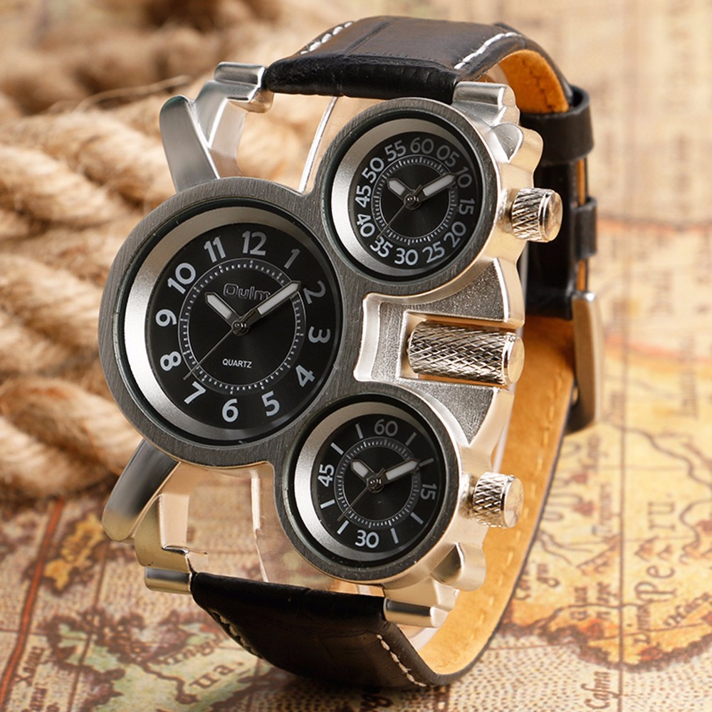 Unique Watches for Men Three Time Zone Large Big Size Irregular Dial Real Leather Strap Military Men's Wristwatches Male Clock 1