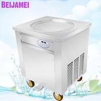 BEIJAMEI Wholesale Big Round Pan Thai Fry Ice Cream Rolls Machine 110v 220v electric fried rolled yogurt maker 45cm 50cm