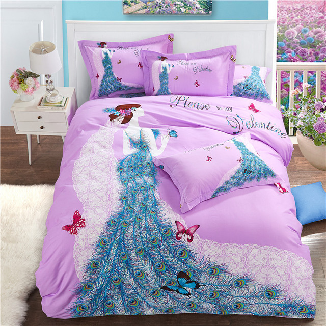 Unique Peacock Girl Bedding Set Cotton Duvet Cover Queen King Size 1 Luxury  Quilt Cover  1 Cotton Fitted Sheets  2 Pillow Shams