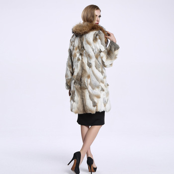 2016 Autumn and Winter Raccoon Fur Collar Rabbit Fur Coat Women's Long Fur Outwear BE-1645 Free Shipping 4