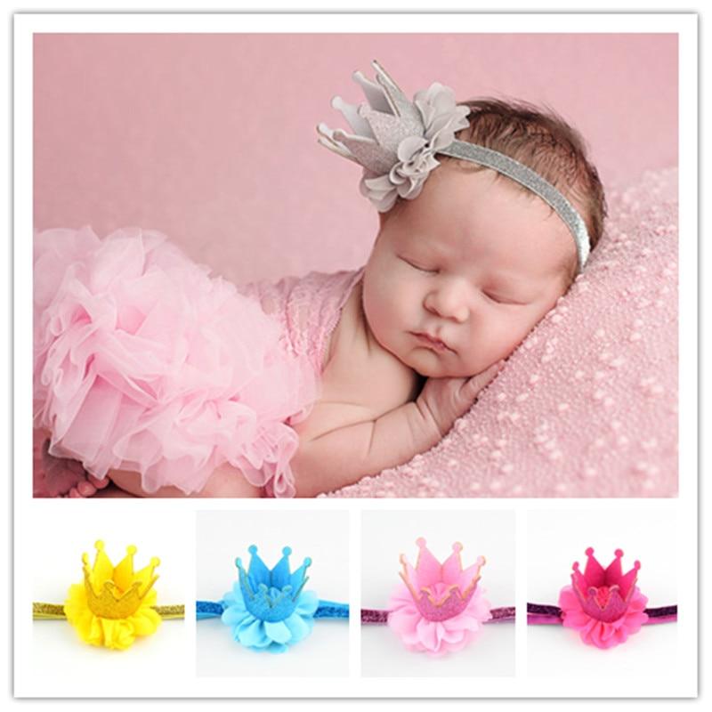 "30pcs/lot 1.7"" Newborn Glitter Princess Crown Headband girl 1st Birthday Smash Cake Crown Headwear U Pick Color FDA210"