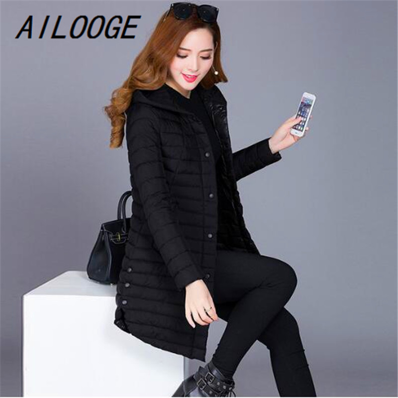 AILOOGE winter autumn women cotton slim coat hooded cotton padded jacket all-match parkas cotton padded jacket female outwear