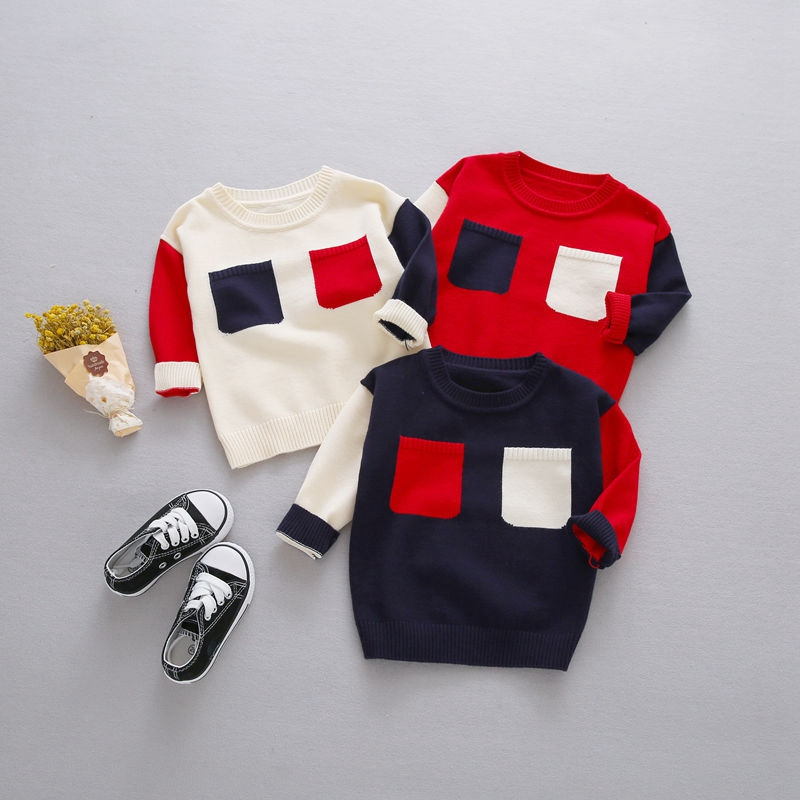 Preppy Style Autumn Baby Boys Color Block Two Pockets Long Sleeve O Neck Children Kids Pullover Casual Knitwear Sweater