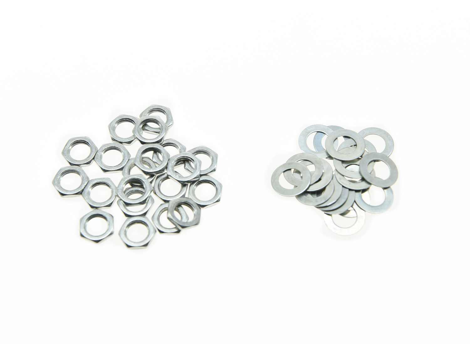 Pack of 20 Zinc Metric M7 Guitar Pots Nuts & Washers for 16mm Mini Metric Pots