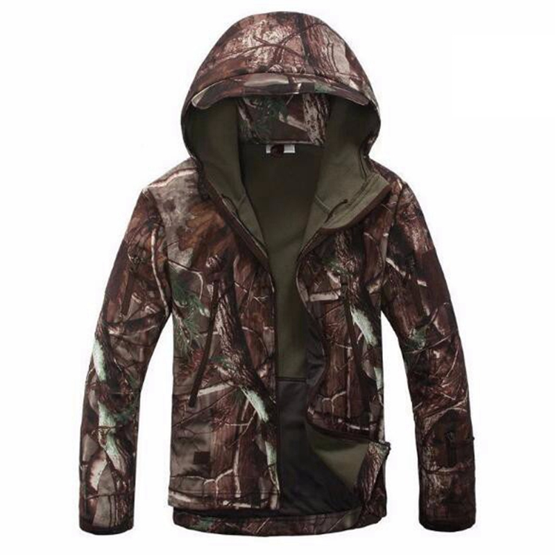 Mens Hiking Shark Skin Soft Shell Outdoor Jacket Military Waterproof Windproof Warm Tactical Camping Hunting Fishing Jacket
