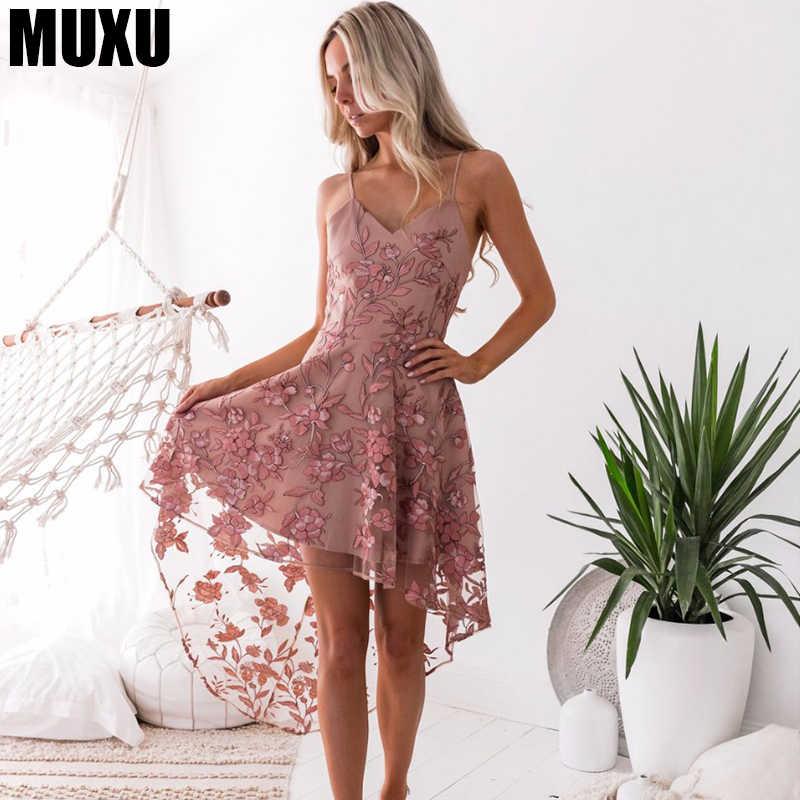 MUXU sexy women summer lace suspender dress patchwork womens clothing  backless ladies dresses streetwear jurk vestido d25096391be9