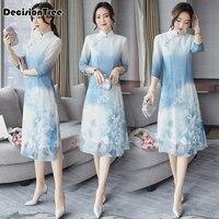 2019 new vietnam ao dai chinese traditional dress chinese dress qipao long chinese cheongsam dress robe chinoise modern cheon