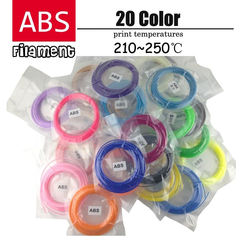 3d pen plastic ABS filament 1 75mm 20 Colors 3D Printer Filament Materials 5M color total