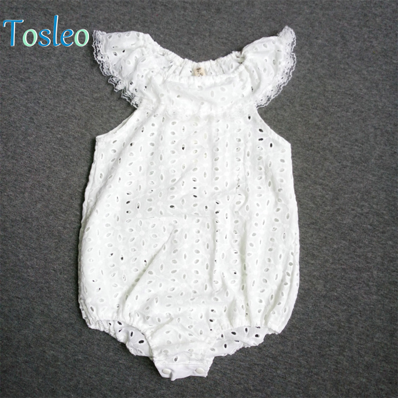2018 Baby Bodysuit Summer White Lace Puff New Born Girl Clothes Todder Bodysuit Girl Baby Onesie Set Lace